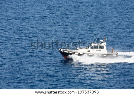 PIlot boat in the Mediterranean Sea near the Straights of Messina