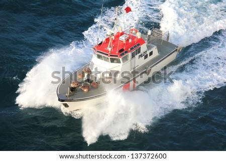 Pilot boat of the coast guards in Australia - stock photo
