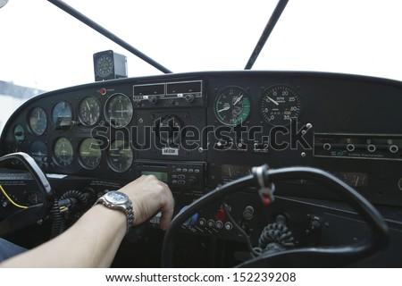pilot cabin of small aeroplane - stock photo