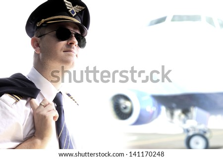 Pilot - Captain airliner plane - stock photo