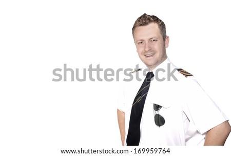 Pilot on white background - stock photo
