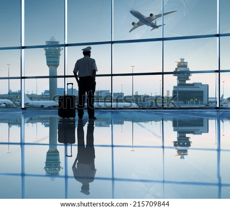 Pilot Waiting in the Airport - stock photo