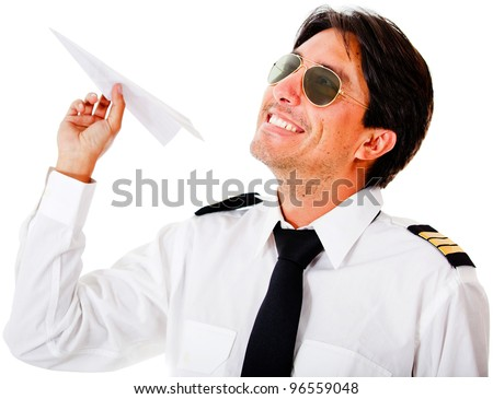 Pilot with a paper airplane - isolated over a white background - stock photo