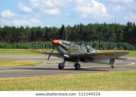 PILSEN, CZECH REPUBLIC - AUGUST 25: Supermarine Spitfire Mk.XVI rolling on the runway, Pilsen airshow on August 25, 2012 in Pilsen, Czech republic.