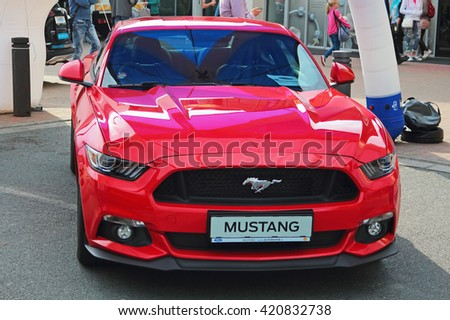 PILSEN, CZECH REPUBLIC - MAY 14, 2016: A new Ford Mustang sport car. Public car show near Olympia shopping centre.