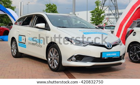 PILSEN, CZECH REPUBLIC - MAY 14, 2016: A new Toyota Auris hybrid car. Public car show near Olympia shopping centre. - stock photo