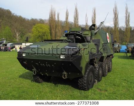 PILSEN, CZECH REPUBLIC - MAY 2, 2015: Pandur II armoured vehicle, ambulance version, Czech Army. Liberation festival in Pilsen - stock photo