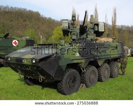 PILSEN, CZECH REPUBLIC - MAY 2, 2015: Pandur II armoured vehicle, Czech Army. Liberation festival in Pilsen. - stock photo