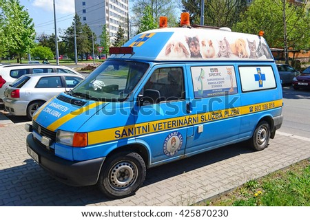 PILSEN, CZECH REPUBLIC - MAY 6, 2016: Veterinary ambulance car. Emergency van for all pets and wild animals in the city Plzen. West Bohemia in Czech Republic, European union. - stock photo