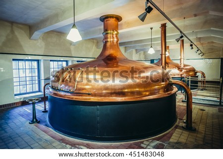 Pilsen, Czech Republic - October 3, 2015. Copper brewing tank in old brewhouse, part of of Pilsner Urquell Brewery