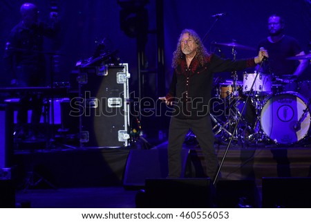PILSEN - JULY 27: Famous English singer Robert Plant during his performance in Pilsen, Czech republic, July 27, 2016.