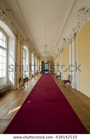 PILSRUNDALE, LATVIA - JUNE 9, 2016: Interior of Rundale palace (The Small Gallery) .It is one of the two major baroque palaces built for the Dukes of Courland in what is now Latvia