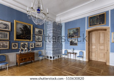 Pilsrundale, Latvia - May 1., 2016.; Interior of Rundale palace. Rundale palace is one of the most outstanding monuments of Baroque and Rococo art in Latvia.