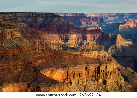 Pima Point Sunrise Grand Canyon National Park - stock photo