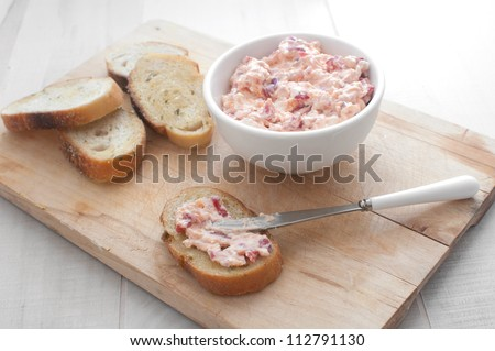 Pimento cheese spread on bread - stock photo