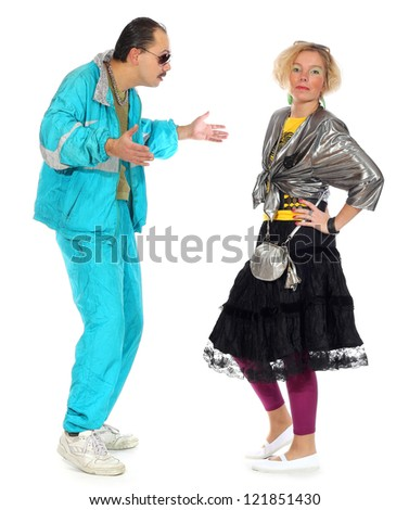 pimp and a prostitute isolated on white background - stock photo
