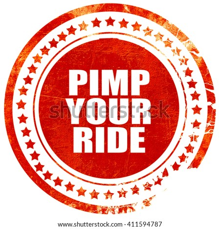 pimp your ride, red grunge stamp on solid background