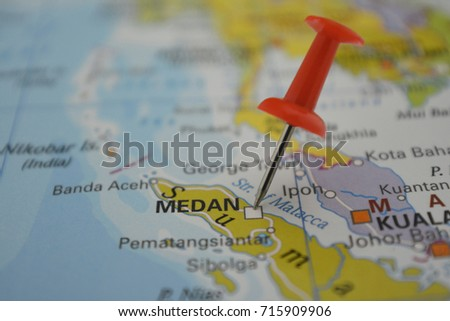 Pin medan on map city indonesia stock photo 715909906 shutterstock pin in medan on map city of indonesia gumiabroncs Gallery