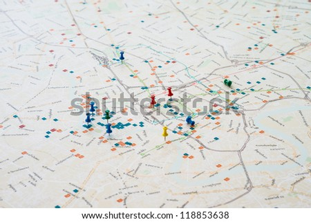 pin mark on map Travel concept - stock photo