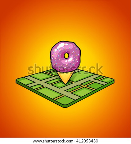 pin on map pink donut pin for a bakery shop on the Green Card on orange background