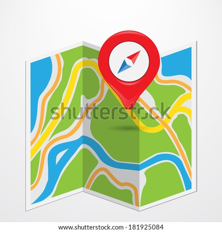 pin pointed on a map - stock photo