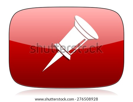 pin red glossy web icon  - stock photo