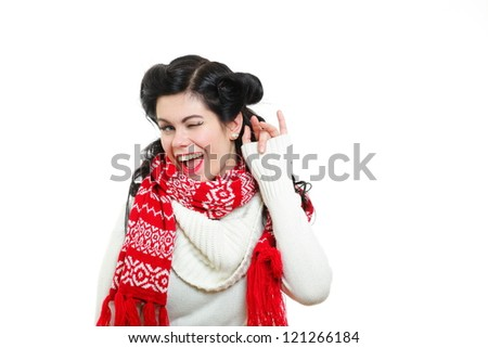 Pin-up girl healthy happy smiling style woman white polo neck sweater - stock photo