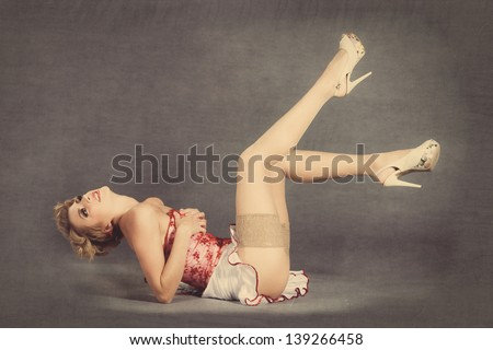 Pin up girl, retro woman, sexy legs - stock photo