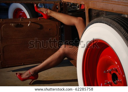 Pin Up Girl Style Long Legs in Red Heels