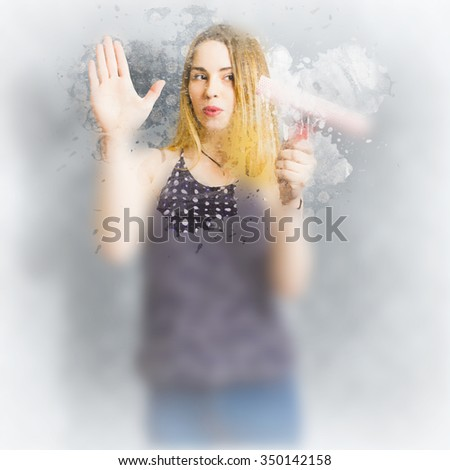 Pin-up housewife cleaner washing glass shower wall with water soap and elbow grease. Retro bathroom cleaning duties  - stock photo