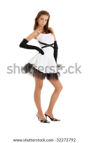 pin-up picture of pretty woman in black and white dress
