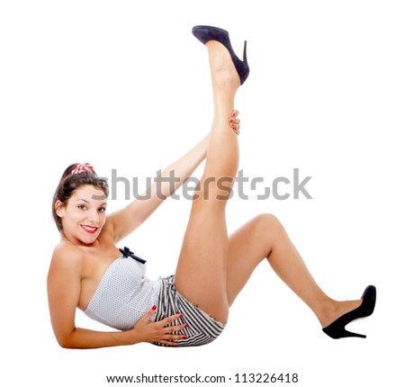 pin up posing - stock photo