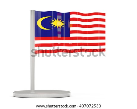 Pin with flag of malaysia. 3D illustration - stock photo