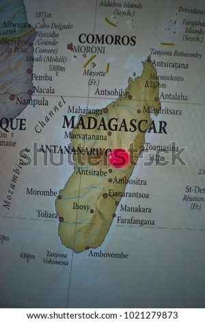 Pin world map madagascar antananarivo stock photo edit now pin world map madagascar antananarivo gumiabroncs Images