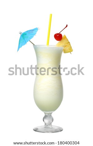 Pina Colada cocktail cutout, isolated on white background - stock photo