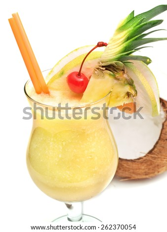 Pina Colada cocktail isolated on white background - stock photo