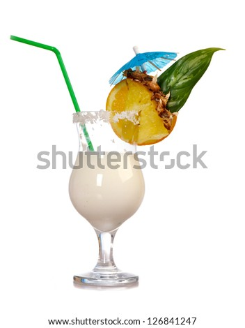 Pina Colada - Cocktail with Cream, Pineapple Juice and Rum.isolated on white background.