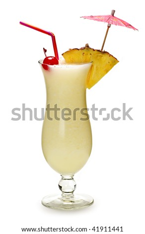 Pina colada drink in hurricane cocktail glass isolated on white background - stock photo