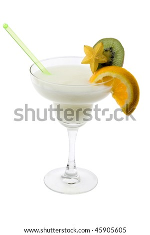 Pina Colada mixed drink with exotic fruit garnish on white background