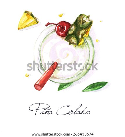 Pina Colada - Watercolor Food Collection - stock photo