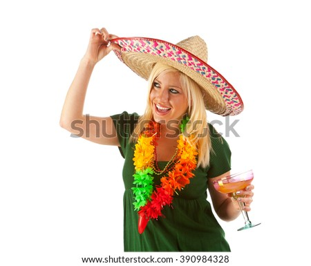 Pinata: Woman Looks To Side While Tipping Sombrero - stock photo