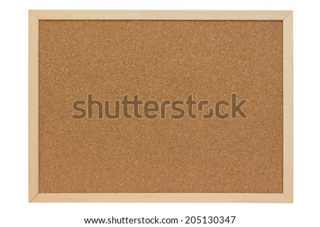 Pinboard of cork with wooden frame - isolated