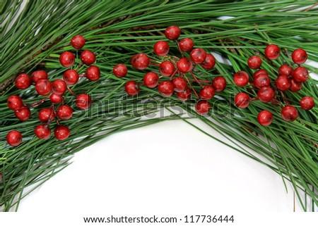 Pine and Berry Christmas Frame - stock photo