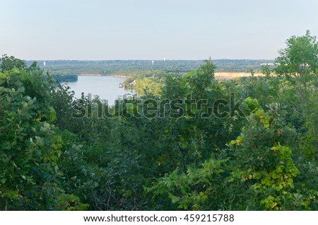 pine bend bluffs overlooking mississippi river in inver grove heights minnesota - stock photo