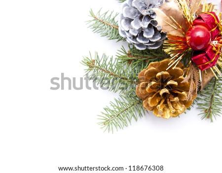 Pine cone border - stock photo