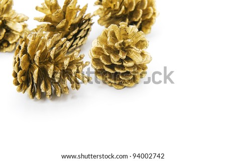 Pine cones of christmas ornament on a white background - stock photo