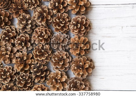 Pine cones on a white wooden background - stock photo