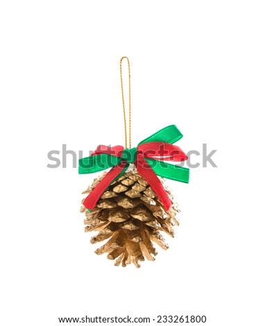 Pine cones with ribbon christmas - stock photo