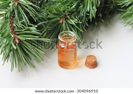 Pine fir twigs green fresh herbal extract bottle aromatherapy healthy organic oil soft focus - stock photo