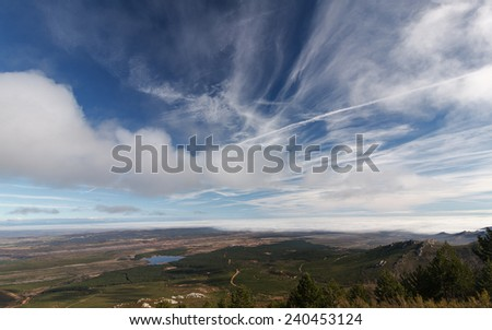 Pine forest, Reservoir Valtabuyo and Tabuyo del Monte, Leon. - stock photo